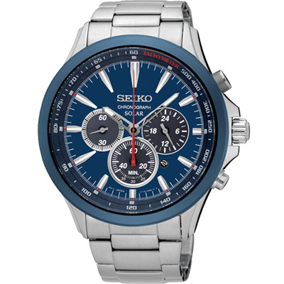 SEIKO 精工 SOLAR 太陽能奔馳計時腕錶(SSC495P1)-藍/44mm