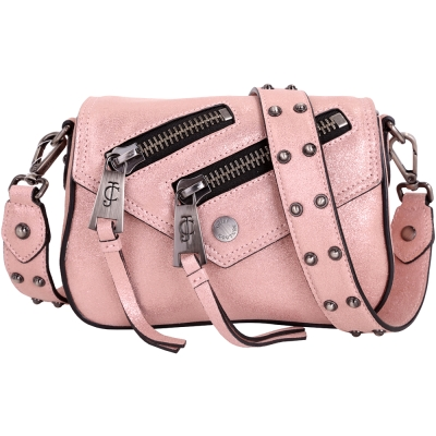Juicy Couture OLYMPIC 雙拉鍊設計珠光皮革斜背包(煙燻粉) @ Y!購物