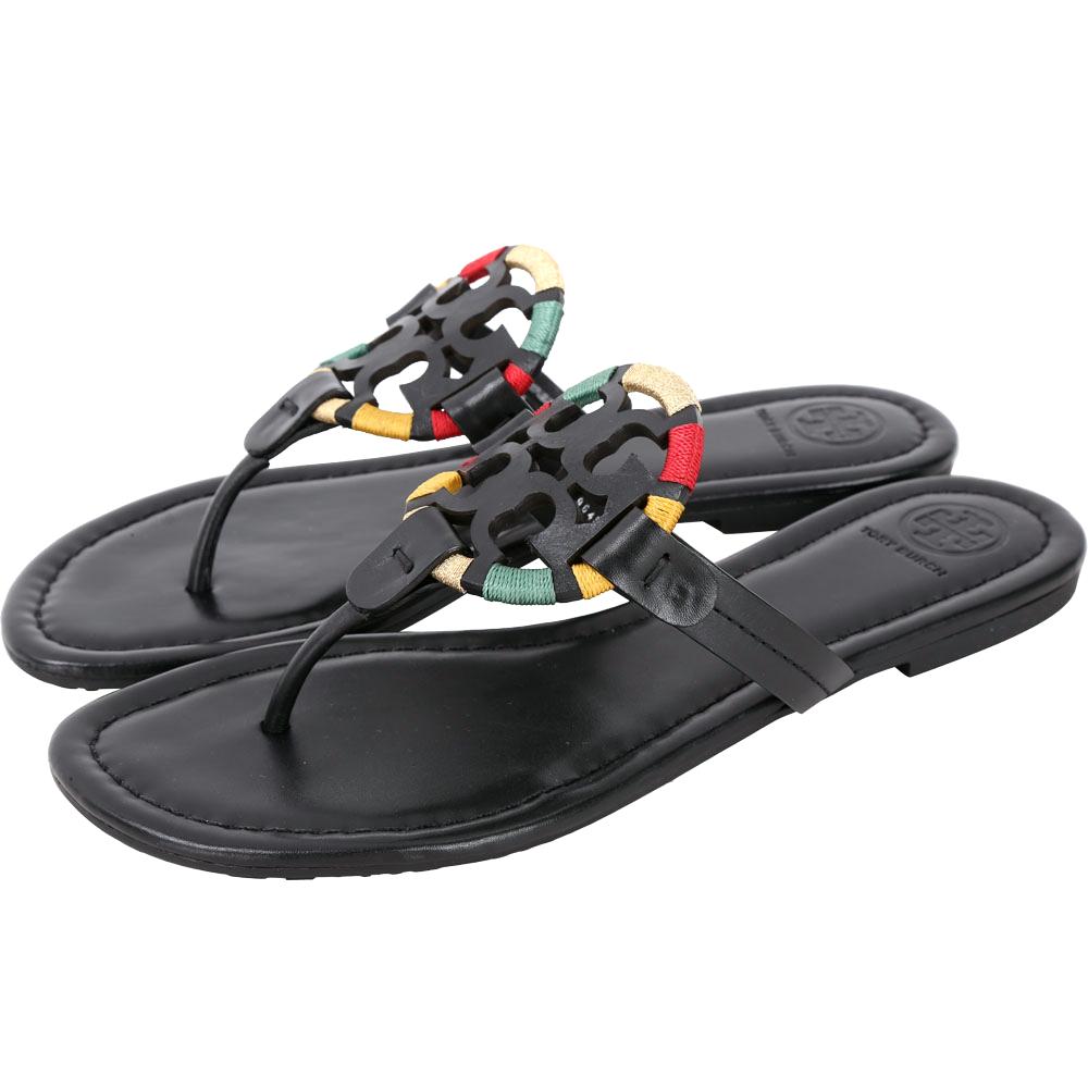 TORY BURCH Miller 多彩纏線盾牌夾腳拖鞋(黑色)