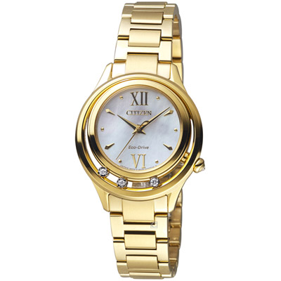 CITIZEN  L 光動能星星閃耀晶鑽腕錶(EM0512-82D)-金色/32mm