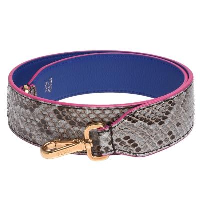 FENDI 經典STRAP系列蟒蛇皮雙面牛皮背帶(紫色)