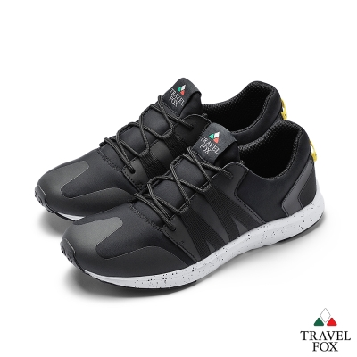 TRAVEL FOX(男)牛皮拼接運動鞋-黑