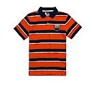 Timberland 男款橘色粗條紋布章短袖POLO衫