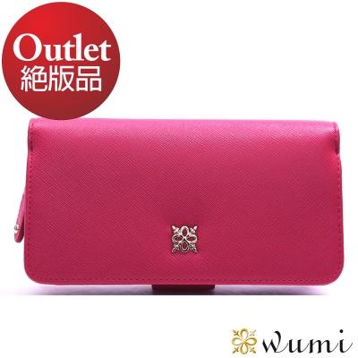 WuMi-無米-美洛蒂十字紋實用-型長夾-俏麗桃