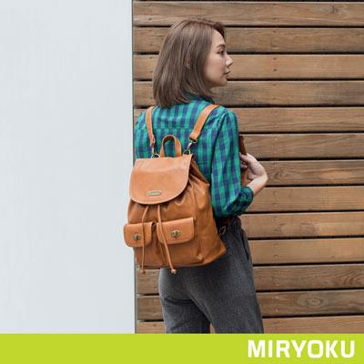MIRYOKU-清新簡約系列-轉釦多口袋後揹包-駝