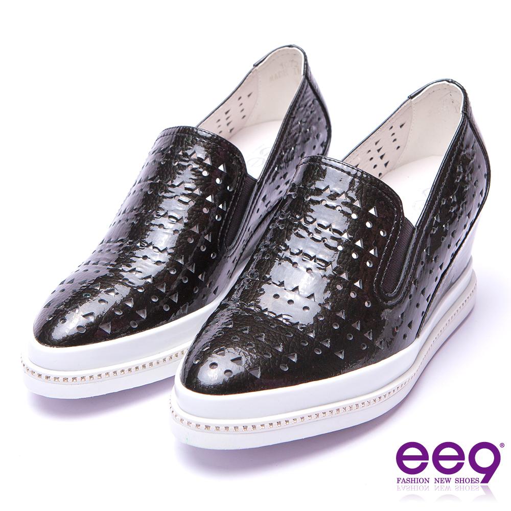 【ee9】率性風采~進口牛皮鐳射鏤空質感內增高休閒鞋*黑色