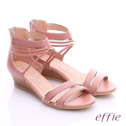effie個性涼夏 金箔真皮一字帶楔型涼鞋 粉紅