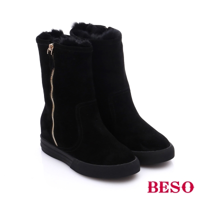 BESO 簡約知性 絨面羊皮拼接拉鍊雪靴  黑色