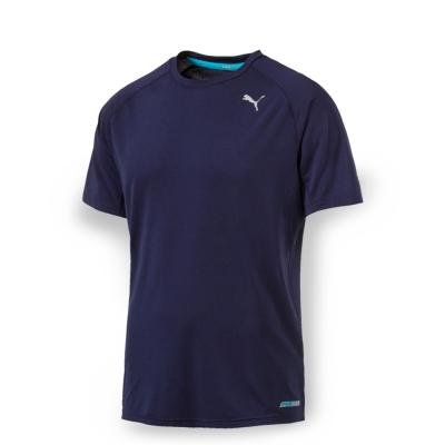 PUMA 男性慢跑系列PWRCOOL素色短袖T恤-重深藍