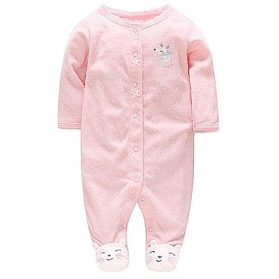 Carters 美國 粉色白點小老鼠長袖連身衣