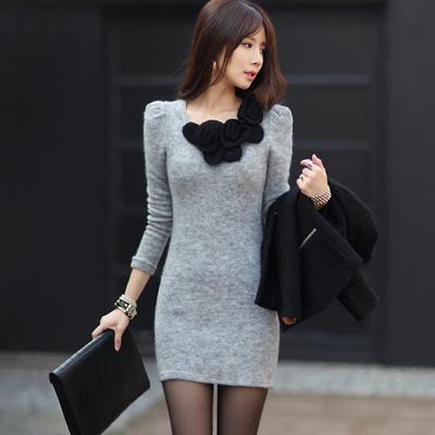 【N.C21】立體針織花朵毛料連身裙 (共三色)