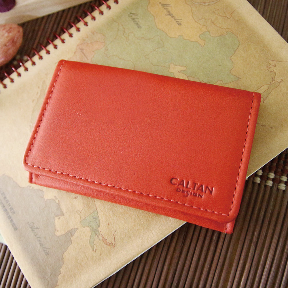 CALTAN - 男女用中性真皮橫式卡片夾名片夾多層卡夾-1801ht-red