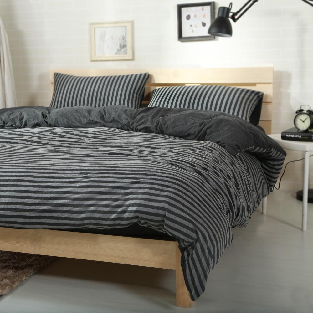 Saint Rose 簡約美學-炭黑 純棉針織 雙人床包被套四件組