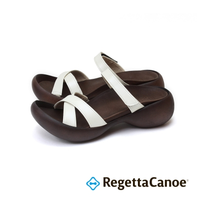 RegettaCanoe-交叉皮革鞋面 蛋型鞋底樂步鞋-白色