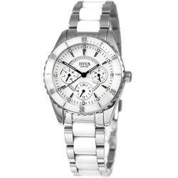 TITUS鐵達時 幸福節奏三環陶瓷腕錶-白/35mm
