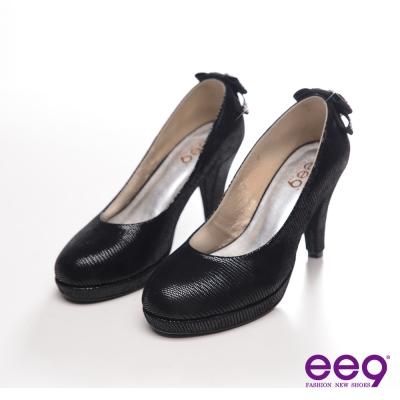 ee9-氣質名媛-壓紋羊皮水鑽蝴蝶結高跟鞋-氣質黑