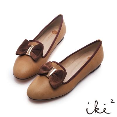 iki2青春日記-羊皮柔軟蝴蝶布面平底鞋-杏