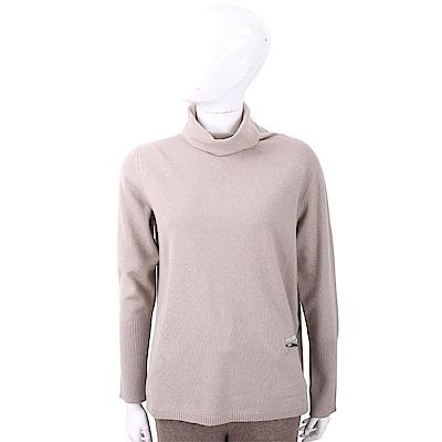 FABIANA FILIPPI 坑條細節燕麥色高領美麗諾羊毛衫