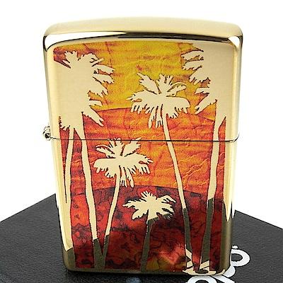 ZIPPO 美系~Palm Tree Sunset-日落棕櫚樹圖案設計打火機