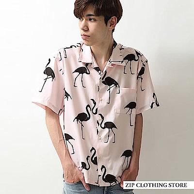 開領襯衫滿版印花紅鶴(2色) ZIP日本男裝
