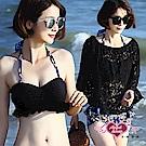 泳衣 湛藍月花 三件式比基尼泳裝(黑M~XL) AngelHoney天使霓裳
