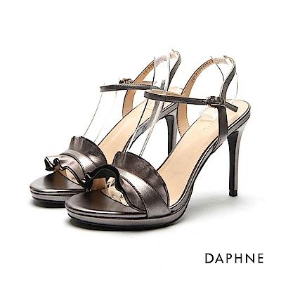 達芙妮DAPHNE 涼鞋-前高後高荷葉邊一字帶涼鞋-錫