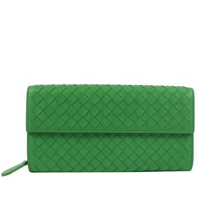 BOTTEGA VENETA小羊皮編織扣式長夾(綠)