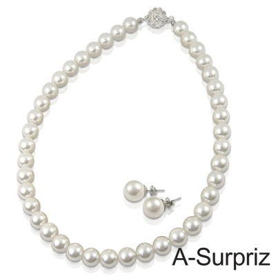 A-Surpriz 10mm典雅貝珍珠項鍊套組(白)