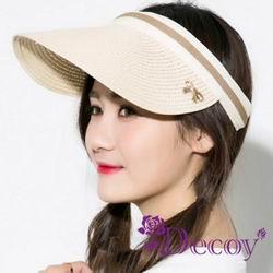 Decoy草帽編織 防曬彈性蝴蝶結遮陽帽 米