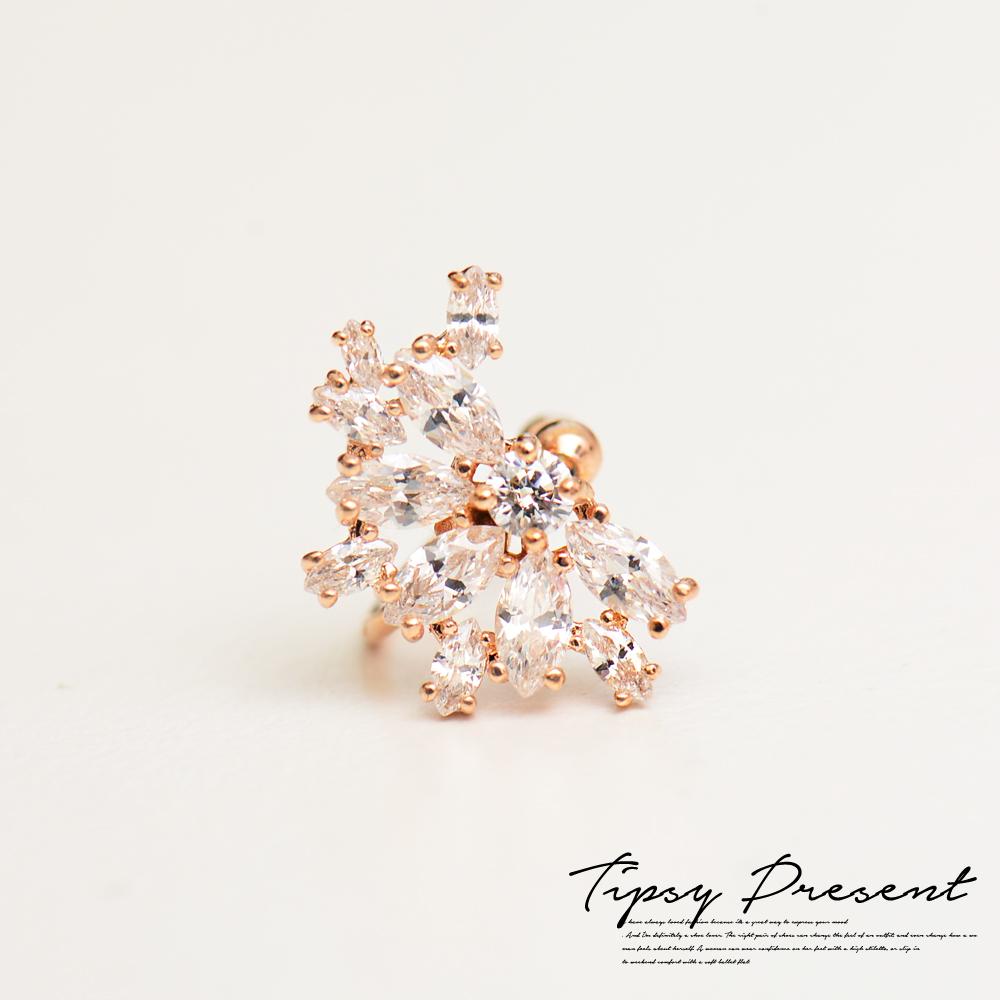 微醺禮物鍍16K金晶鑽女神單邊耳環耳骨環