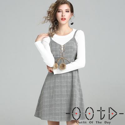 圓領長袖毛衣+格紋綁帶吊帶裙兩件套 (灰色)-OOTD