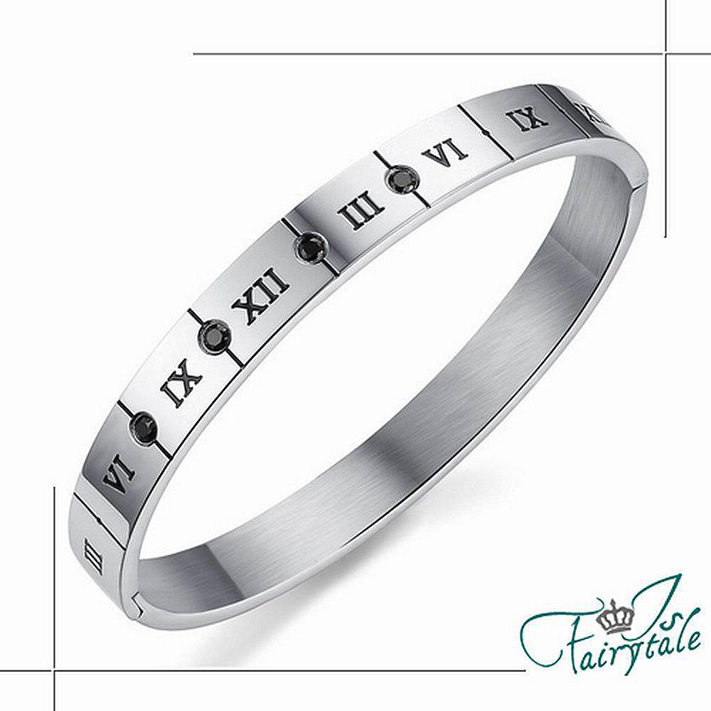 iSFairytale伊飾童話 羅馬方牌 316L鈦鋼鋯石手環 男