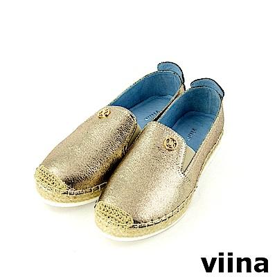 viina-休閒系列-閃耀金屬質感草編鞋-典雅金