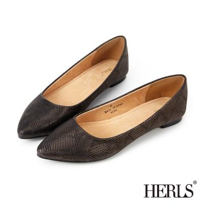 HERLS 名品質感 內真皮金屬蛇紋尖頭平底鞋-金色
