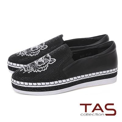 TAS 獅子造型水鑽質感休閒鞋-注目黑