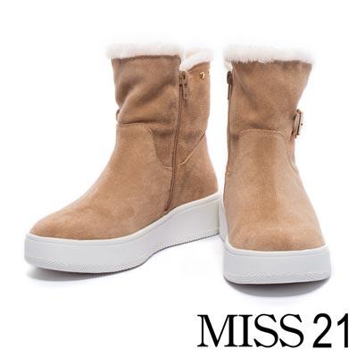 短靴 MISS 21 秋冬時尚造型金釦帶鉚釘毛絨絨厚底短靴-杏