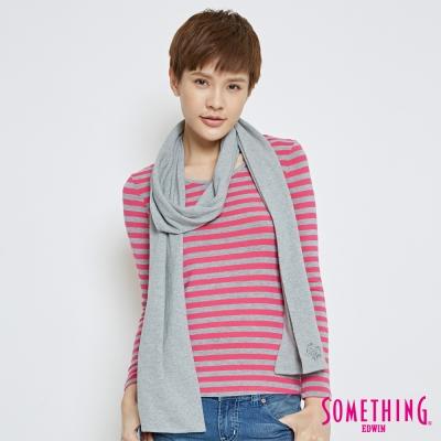SOMETHING 可拆卸圍巾條紋長袖T恤-女-桃紅