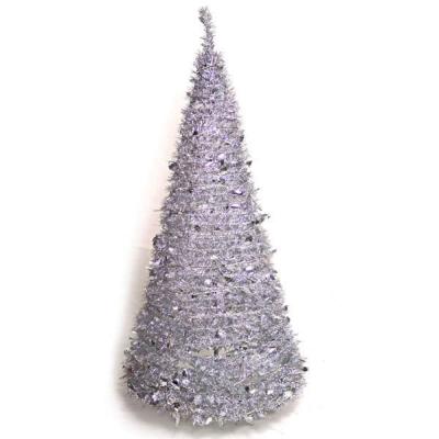 6尺(180cm)創意彈簧摺疊聖誕樹(銀色系)