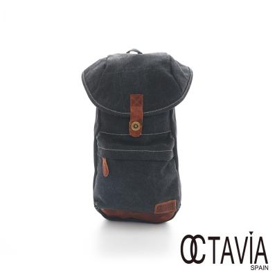 OCATAVIA  8 真皮  - 袋鼠袋 牛仔單肩可變雙肩式後背包 - 跳跳黑