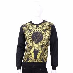 VERSACE 黑色經典圖騰印花棉質長袖運動衫