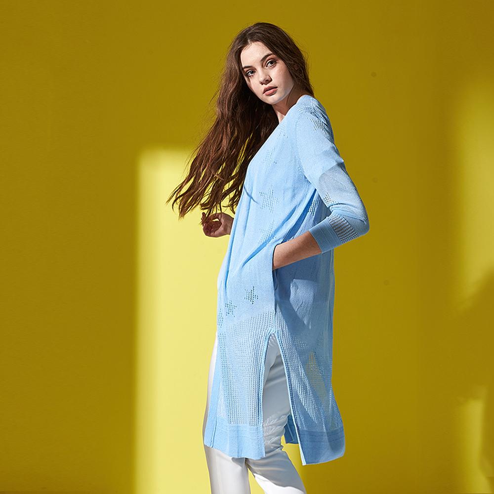 ICHE 衣哲 無印風側開岔鏤空罩衫長版開襟針織外套(兩色)-藍