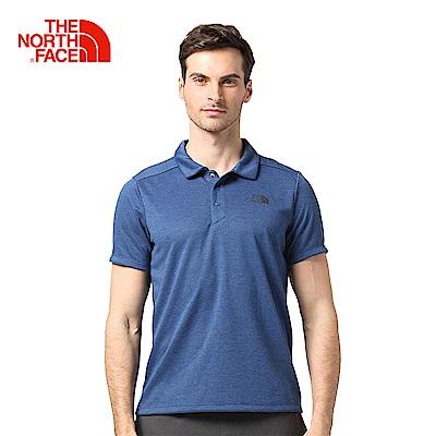 The North Face北面男款藍色速乾透氣短袖POLO衫