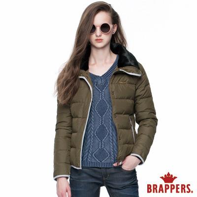 BRAPPERS 女款 女用毛領短版羽絨外套-秋香綠