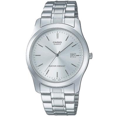CASIO  世界富豪時尚指針紳士錶-銀灰面