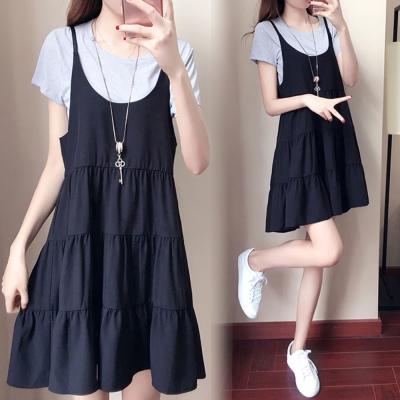 中大尺碼 灰色圓領上衣加黑色細肩蛋糕裙洋裝套裝XL~4L-Ballet Dolly