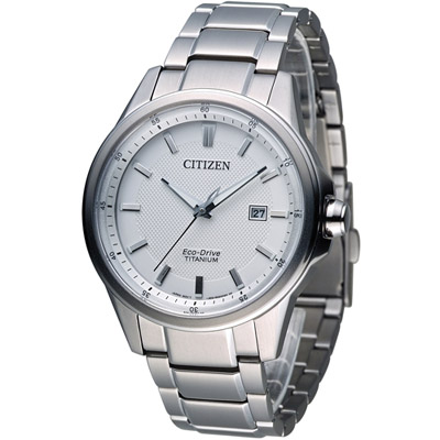 CITIZEN Eco-Drive 光動能鈦時尚腕錶(AW1490-84A)-白/42mm
