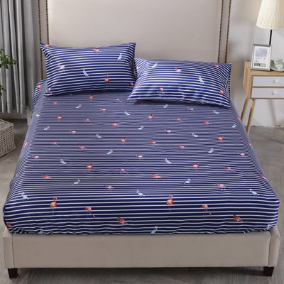 Grace Life 北歐烈鳥-藍 加大可水洗涼感絲床包三件組