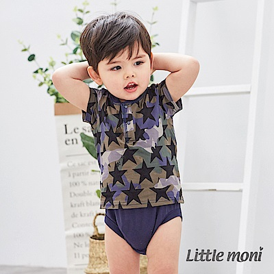 Little moni 迷彩短袖包屁衣 軍綠