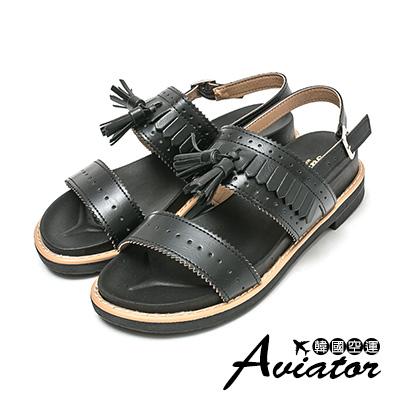 Aviator*韓國空運。正韓製復古雕花流蘇厚底涼鞋-黑