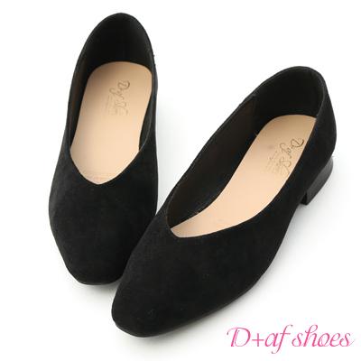 D+AF 優雅美型.素面V口絨料平底鞋*黑